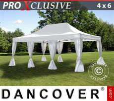 Party tent 4x6 m White, incl. 8 decorative curtains