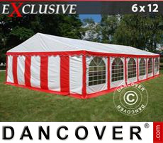 Party tent 6x12 m PVC, Red/white