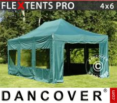 Party tent  4x6 m Green, incl. 8 sidewalls
