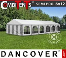 Party tent 6x12 m 4-in-1, Grey/White