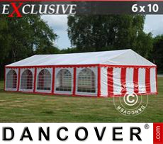 Party tent 6x10 m PVC, Red/White