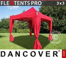 Party tent 3x3 m Red, incl. 4 decorative curtains