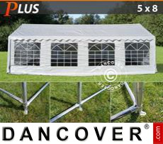 Party tent 5x8 m PE, White + Ground bar
