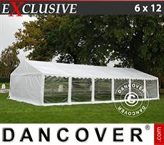 Party tent 6x12 m PVC, White, Panorama