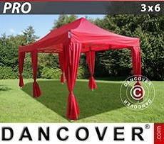 Party tent 3x6 m Red, incl. 6 decorative curtains