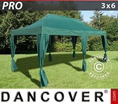Party tent 3x6 m Green, incl. 6 decorative curtains