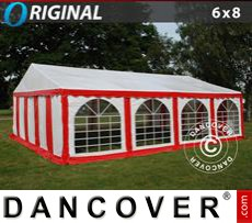 Party tent 6x8 m PVC, Red/White
