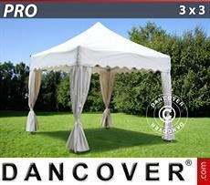Party tent 3x3 m White, inkl. 4 decorative curtains