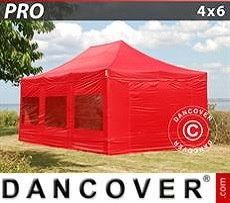 Party tent 4x6 m Red, incl. 8 sidewalls