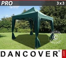 Party tent 3x3 m Green, incl. 4 decorative curtains