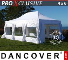 Party tent 4x6 m White, incl. 8 sidewalls & decorative...