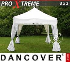 Party tent 3x3 m White, incl. 4 decorative curtains